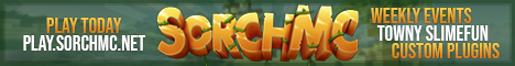 Banner for SORCHMC | TOWNY | QUESTS | SLIMEFUN | RANKUPS server