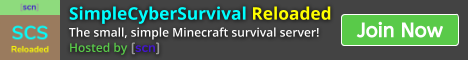 Banner for SimpleCyberSurvival Reloaded (SCSR) Minecraft server
