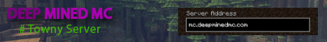 Banner for Deep Mined - Towny - McMMO - ChestShops Minecraft server